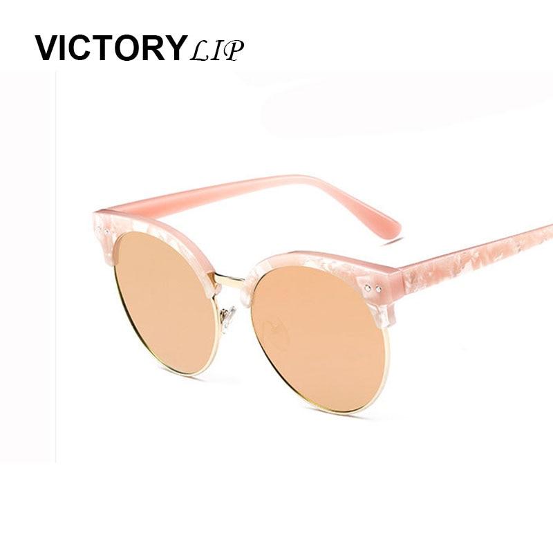 Victorylip mujer 2016 ronda retro Gafas de Sol medio Marcos gato atractivo Sol  Gafas mujer de lujo marca diseñador multi color 54f63856ee24