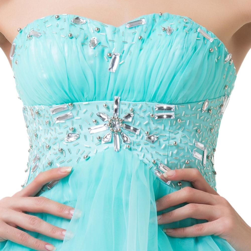 Pale Turquoise Prom Dresses Short Elegant Beaded Graduation Dress ...