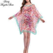 SAUCY ANGELIA Women Summer Sun Dress Tassel Swimwear Swimsuit Ups Sexy Print See Through Cover Up 2019 New Bikini Beach Wear XL