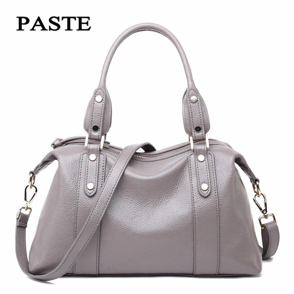 ФОТО Genuine leather rivet  women bag European and American Style  Large capacity Simple leisure shoulder bags