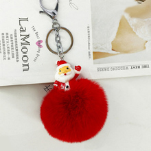 2018 pop Original New Fluffy Fur Santa Claus Pompom Keychain For Women Xmas Bag Charm Pompon Key Chain Holder Christmas Day Gift christmas santa graphic pompon embellished sweatshirt