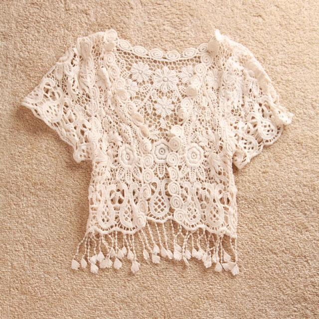 Free shipping hollow & crochet tassels Girls lace t shirts baby ...