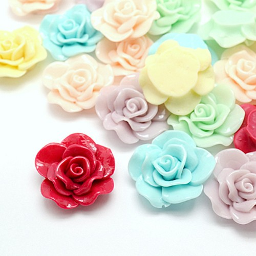 50 шт. смешанные смолы цветок кабошоны ювелирных изделий, Размеры: около 30 мм, 28 мм широкий, 10 мм толщиной.