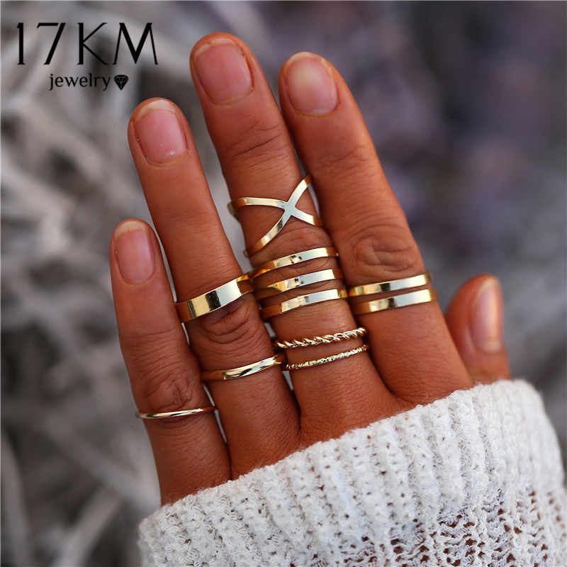 17KM 8 Pcs/Set Simple Design Round Gold Color Rings Set For Women Handmade Geometry Finger Ring Set Female Jewelry Gifts