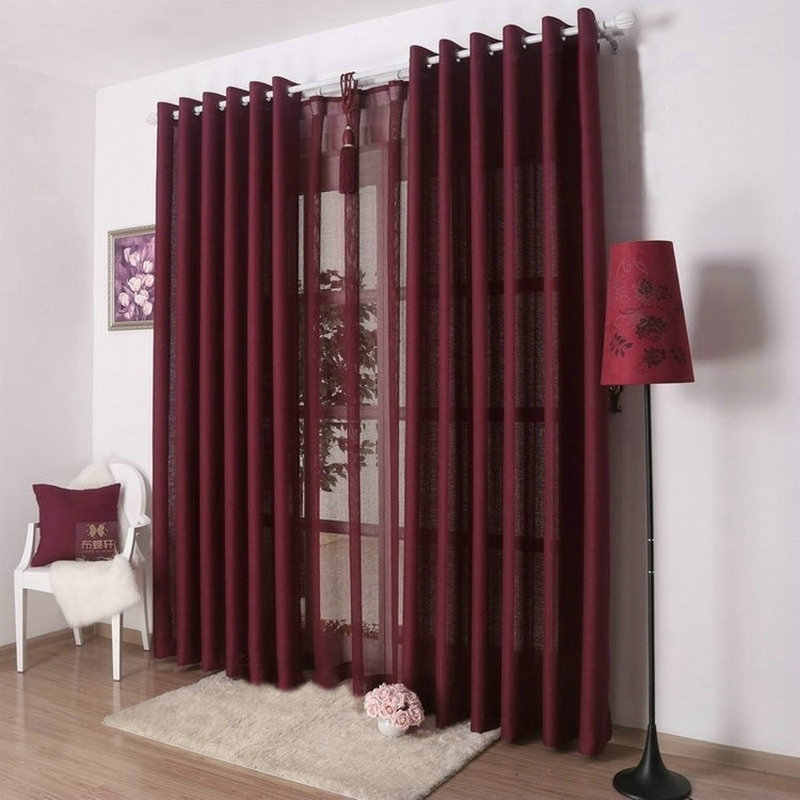 Kitchen Curtains Solid Color Drapes For Kitchen Plain Curtain+Voile 9  Colors Grey/Burgundy/Yellow/Violet/White Shade/Drapery