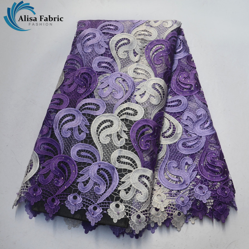 Purple African Water Soluble Lace Fabric High Quality African Cord Lace Fabric With Stones And Beads