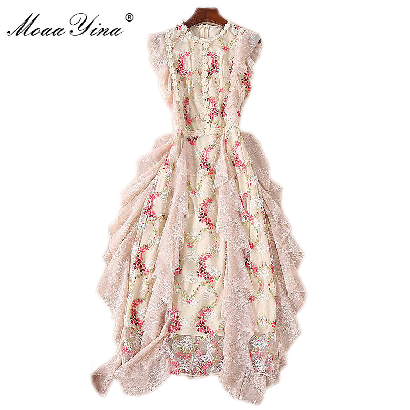 MoaaYina Fashion Designer Runway Dress Summer Women s Butterfly Sleeve Mesh Floral Embroidery Ruffles Vintage Elegant