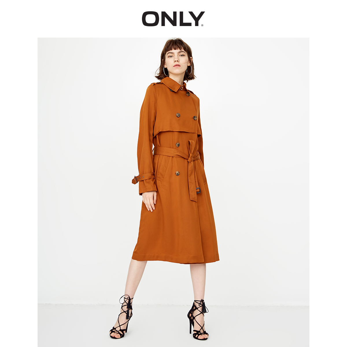ONLY Women's Double-breasted Lace-up Cinched Waist Wind Coat   118336508