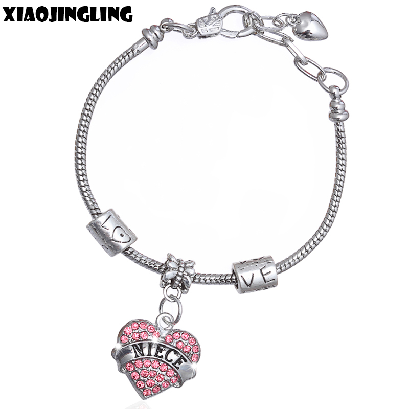 XIAOJINGLING Crystal Heart Pendant Bracelet Fashion