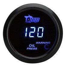 52mm 2.0 polegada LCD 0 ~ 120PSI Auto Car Digital Medidor de Pressão do Óleo com Sensor De Aviso Luz-preto