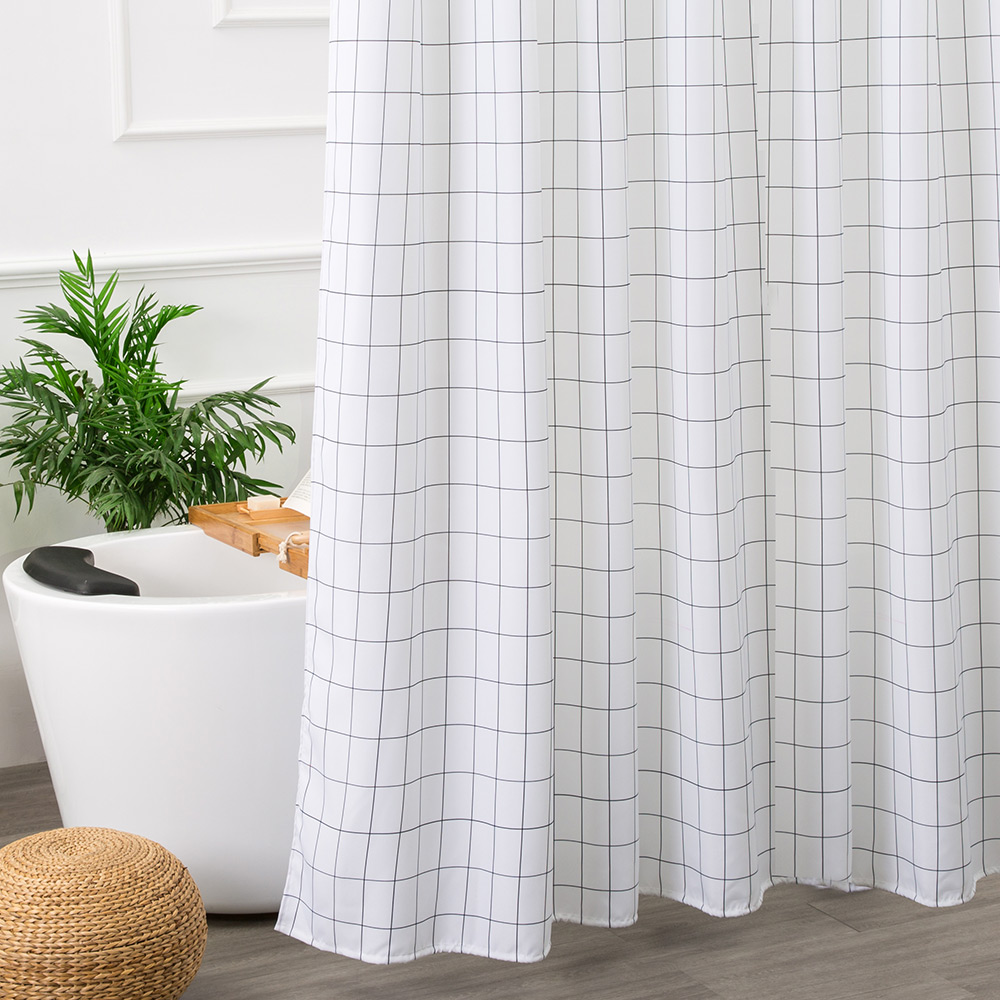 Bathroom curtains black and white - Aimjerry White And Black Bathtub Bathroom Fabric Shower Curtain With 12 Hooks 71wx71h High Quality Waterproof