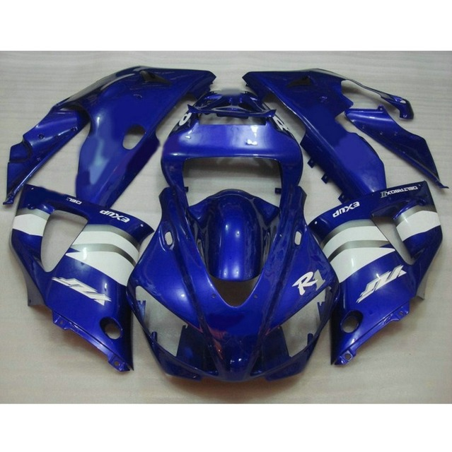 Custom free motorcycle injection molded fairings kit for YAMAHA 1998 1999 YZFR1 98 99 YZF R1 blue white body repair fairing kits