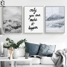 Mountain Motivation Quotes Wall Art Canvas Painting Nordic Posters And Prints Decoration Pictures For Living Room Decor motivation and action