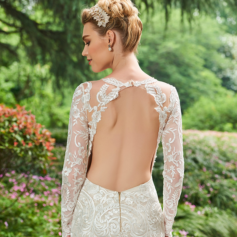 Dressv V Neck Γοργόνα Φόρεμα Γάμου Μακρύ - Γαμήλια φορέματα - Φωτογραφία 5