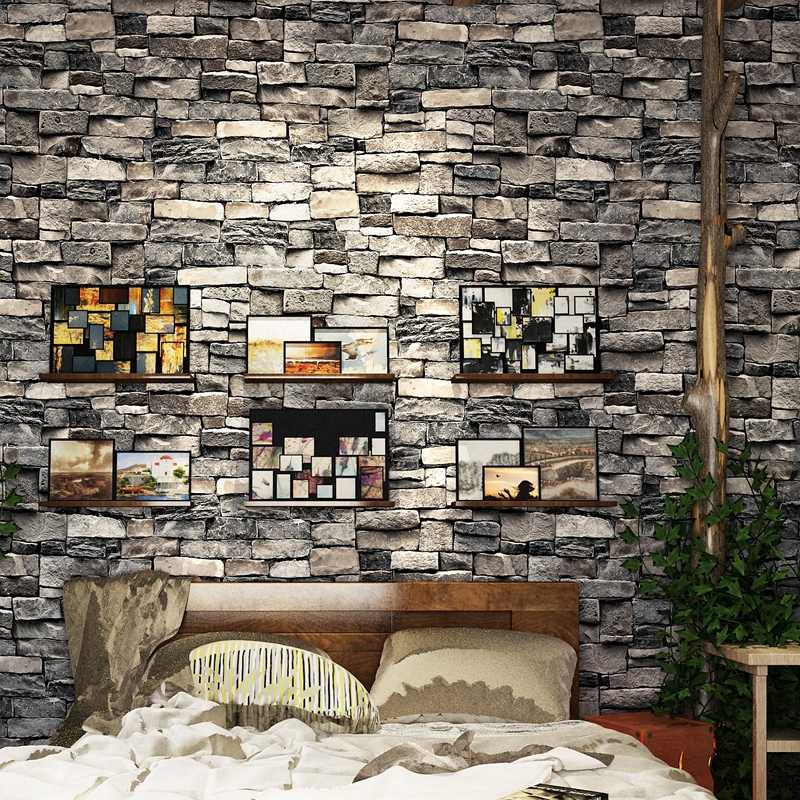 Retro Simulation Brick 3D Wallpaper Restaurant Bar Clothing Store Background Wall Wallpapers Home Decor Wallpaper roll цена