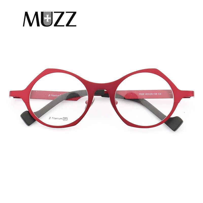 bfdc68d097 MUZZ Super light Pure titanium frames eyeglasses men Optical Irregular  small round full rim Frame myopia