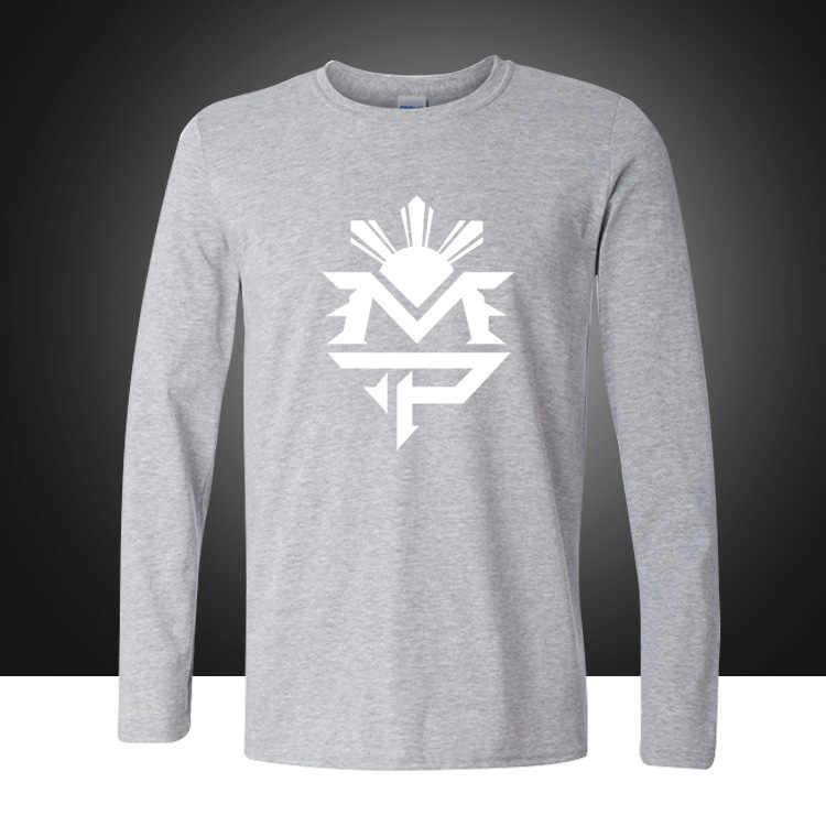 Модные Стиль футболка Мэнни Пакьяо MP логотип футболки из хлопка с длинными рукавами и круглым вырезом футболки боксеры свободные плюс Размеры