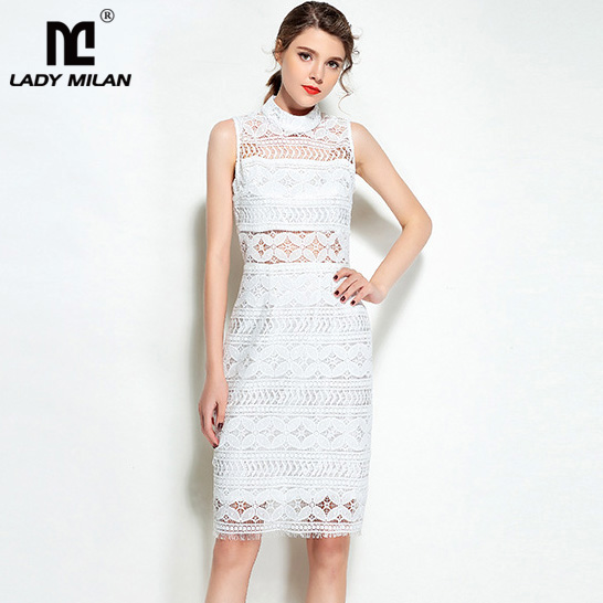 New Arrival 2018 Womens O Neck Sleeveless Embroidery Lace High Street Fashion White Dresses