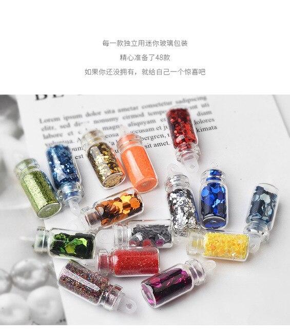 48pcs/set nail art decoration in glass bottle Flash Pink sequines hexagonal glitter nail sticker DIY 3D nail art flakes MZ070 3