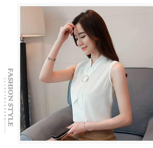 New 2018 Summer Sleeveless Elegant Chiffon Women Blouses Solid Casual Fashion Top Vest Korean Soft Female Clothing Shirt 0234 40