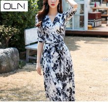 DRESS Summer new Korean version of the long double-breasted suit collar plaid fishtail  Vestidos