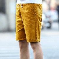 Mens Casual Verão Shorts Masculino Capris Ocasional Plus Size XXXL 4XL 5XL Homem Amarelo Na Altura Do Joelho Calções