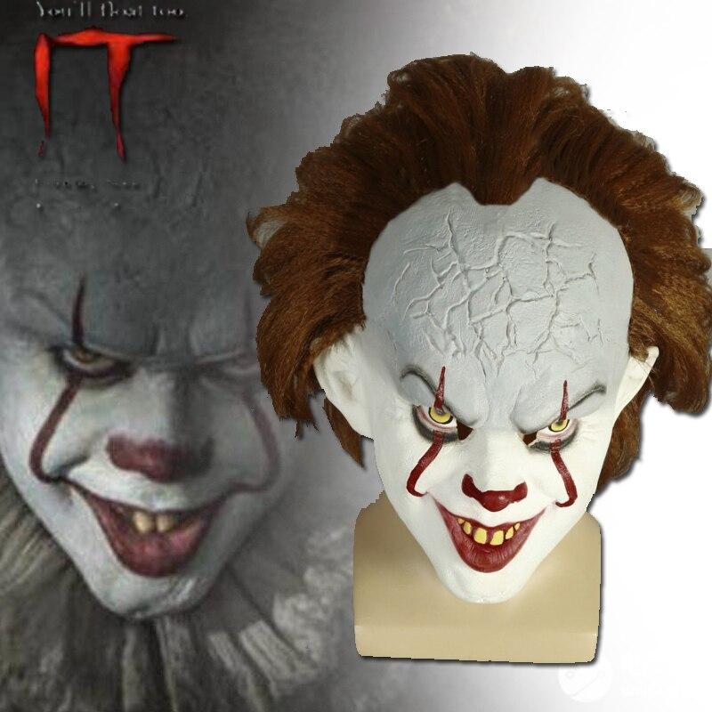 2017 film Stephen König der Es 2 Joker Pennywise Full Face Mask Horror Clown Latex Halloween Party Hoorible Masken Cosplay Prop