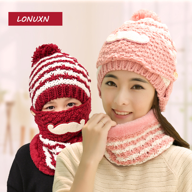 19 Colors Korean Hat And Scarf Women Winter Long Knit Scarf Hat