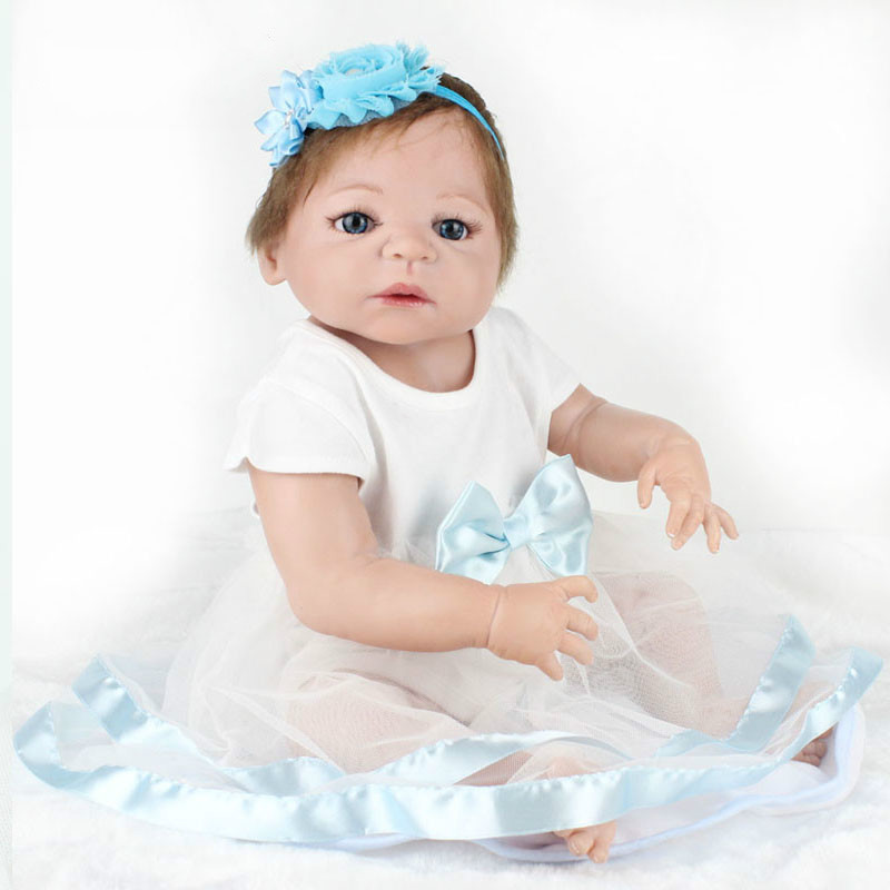 22 Inches Reborn Baby Doll Playmates Christams Birthday Party Gifts Mummy Training Tools Babe Educational Kids Toys for Girl Boy