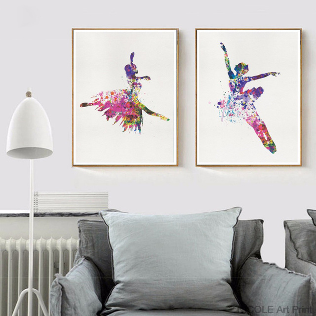 528a63307a99 Ballerina Ballet Dance Girl Minimalist Art Canvas Poster Painting  Watercolor Picture Print for Modern Home Living Room Decor