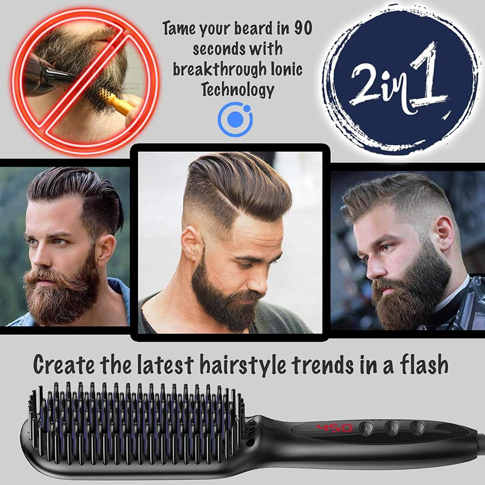Image 3 - Electric Hair Straightening Comb Quick Beard Straightening Comb for Man Beard Straightener Brush Styling Comb Heat Brush-in Straightening Irons from Home Appliances
