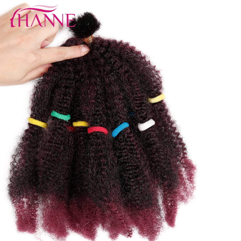 HANNE Bulk Hair Small Afro Kinky Curly Extensions 12 Black Or Ombre Mixed 1B#BUG Pre Braided Hair Extension 1pc Synthetic Weave