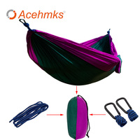 Acemkks Ssorted Color Hanging Sleeping Bed Parachute Outdoor Camping Hammocks Double Person Portable Hammock Hot Sale