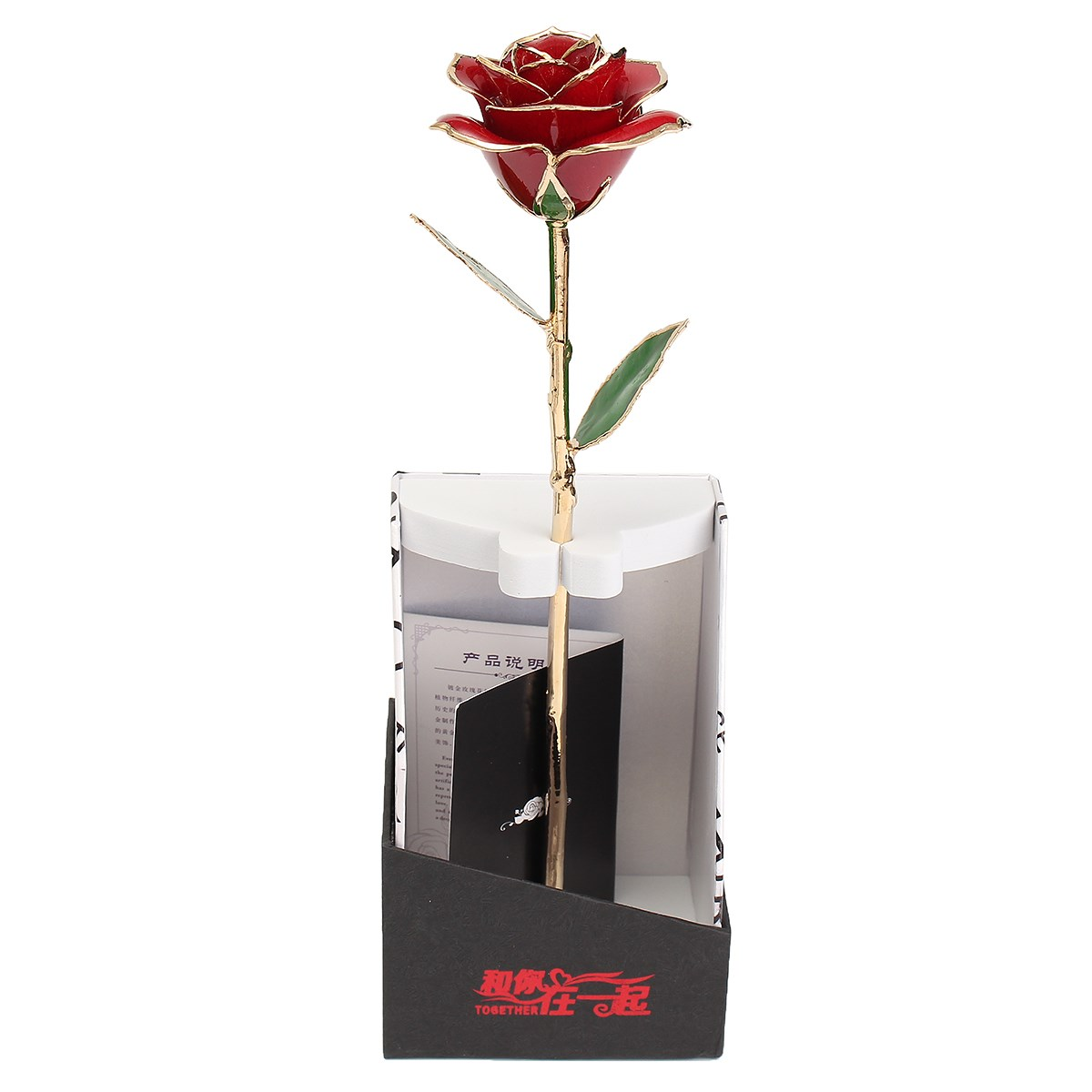 Genuine 24K Rose Flower Dipped Trim Long Stem Rose Flower Glass Valentine Mother's Day Foil Home Decoration Romantic