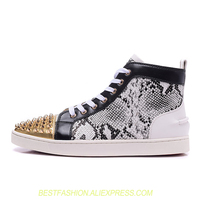Shoes Men Brand High Top Casual Shoes Flats Sneakers Tenis Masculino Esportivo Snakeskin Party Shoes Gold Spikes Studded Shoes