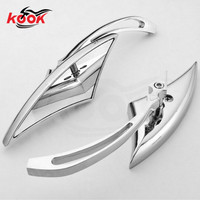 brand triangle chrome motorbike mirror for Harley Davidson motorcycle rearview mirror silver tapered aluminum cruiser choppers