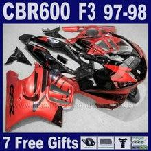 red customize free ABS fairing kits for Honda 97 98 CBR 600 F3 1997 1998 CBR600F3 black motorbike fairing fairings Tank cover