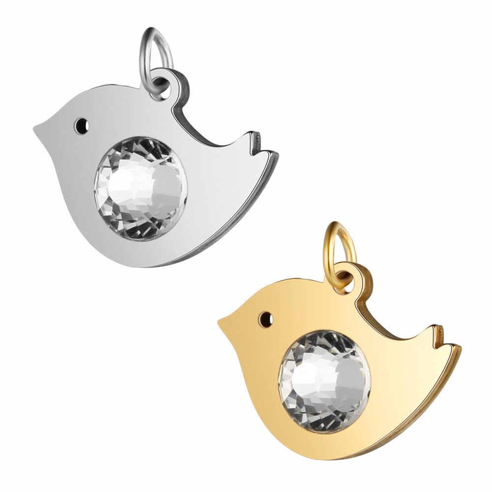 5 pçs/lote 100% aço inoxidável 7mm grande strass coruja charme atacado jóias fazendo encantos aço e ouro enchido jóias charme