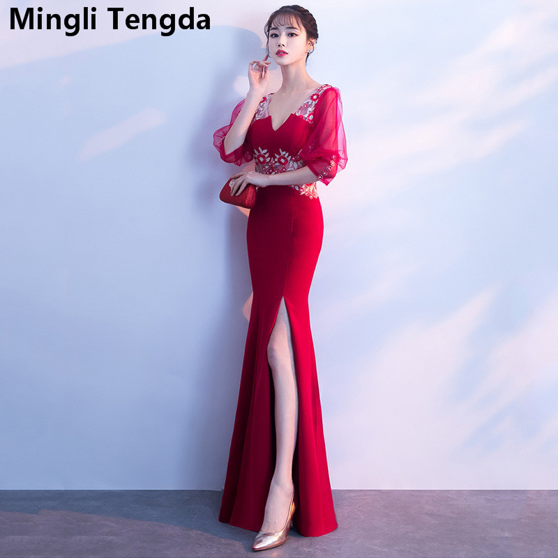 Luxury V Neck   Bridesmaid     Dresses   Long   Dress   for Wedding Party for Woman Mermaid   Bridesmaid     Dress   robe de mariee Mingli Tengda