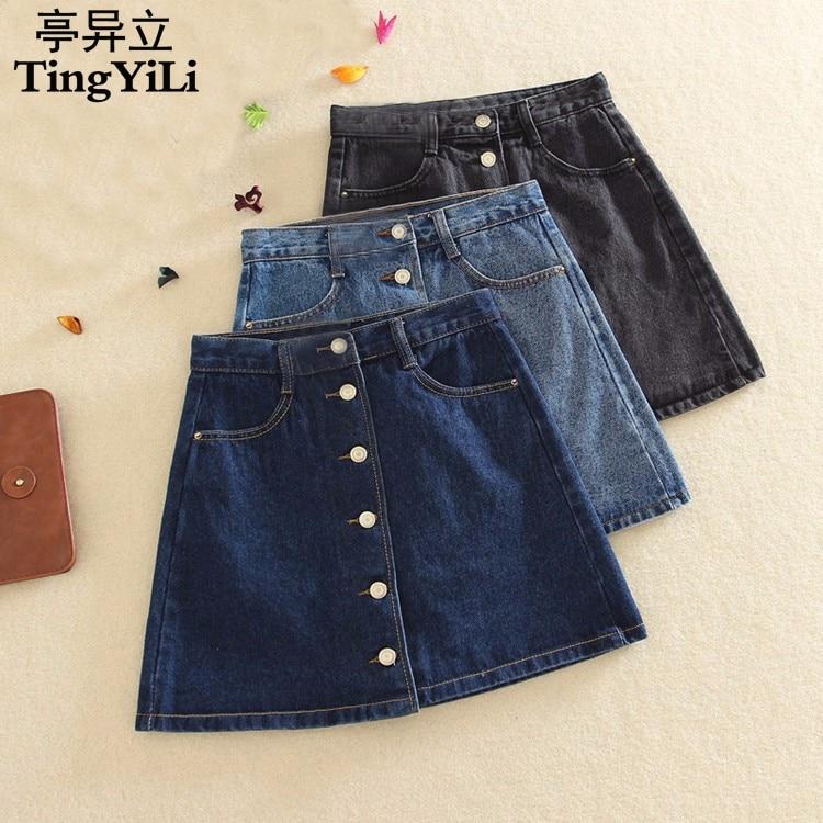 Aliexpress.com : Buy TingYiLi Ladies Jeans Skirt Light Blue Dark ...