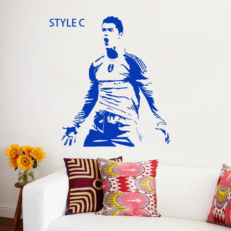 Art design name quote vinyl football player Cristiano Ronaldo A B C style cheap wall sticker removable soccer athlete decals