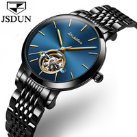JSDUN Simple Mechanical Watches Women Steel Belt Business Clock Ladies Watch Leather Strap Hollow Automatic Wristwatches L8812