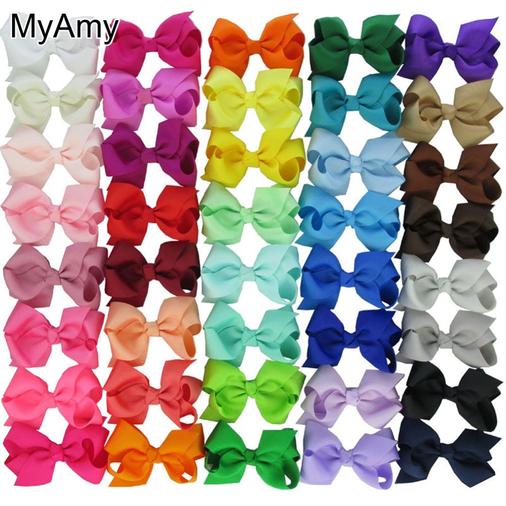 MyAmy 40pcs/lot grosgrain ribbon 3'' hair bows WITH alligator clips boutique bow for baby girls children kids teens toddle 2542 3 5 inch grosgrain ribbon hair bow diy children hair accessories baby hairbow girl hair bows without clip 16pcs lot