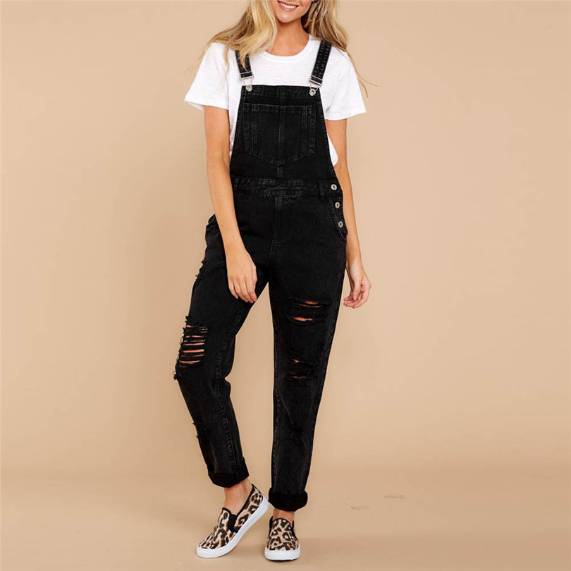 Women Sexy Denim Jeans Summer Fasihon New Autumn Bib Pants Hole Overalls Jeans Straps Demin Trousers Rompers #4F05 (6)