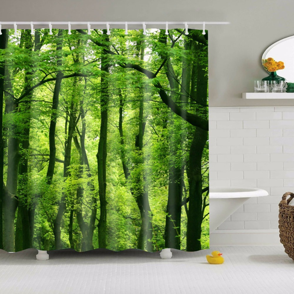 Natural shower curtain - New Style Shower Curtain Green Tree Bathroom Curtain Nature Pattern Waterproof Polyester Shower Curtain 180