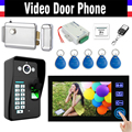 "7"" Touch Video Door Phone Intercom Doorbell Kits Fingerprint ID Keyfobs password keypad Electronic Door Lock Doorphone"