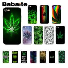 Babaite Weed Leaves Black TPU Soft Phone Accessories Cover for iPhone