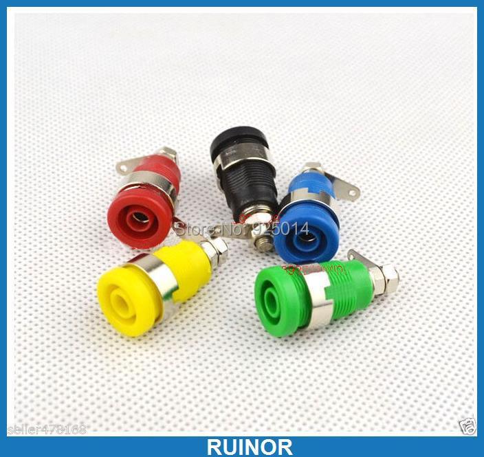 ФОТО 100PCS 5 color Multimeter 4.0mm Banana Socket 4mm binding posts nut Panel Mount