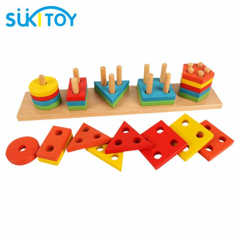 Montessori mediniai žaislai Formų atitikimo blokai Interaktyvūs - Mokymasis ir ugdymas