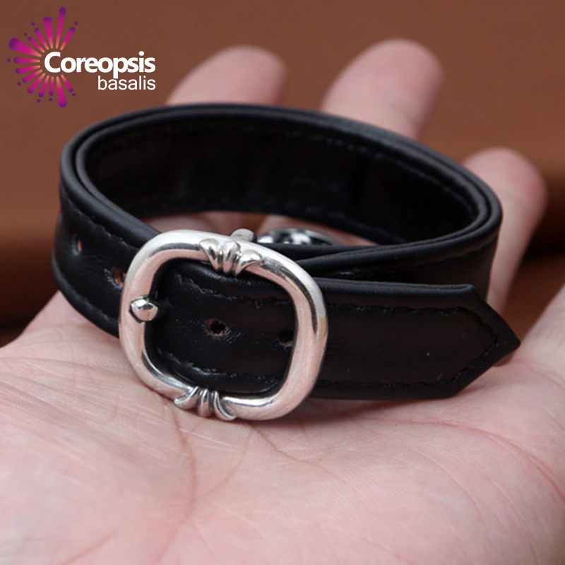 Thai Silver Genuine 925 Silver Mens Jewelry Bracelet For Men Male True cowhide square buckle hand ring bracelet 4 pcs cowhide rope hand bracelet